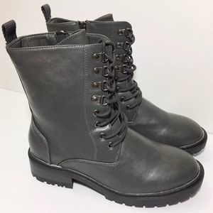 Torrid 9W Dark Gray Combat Boots Faux Leather